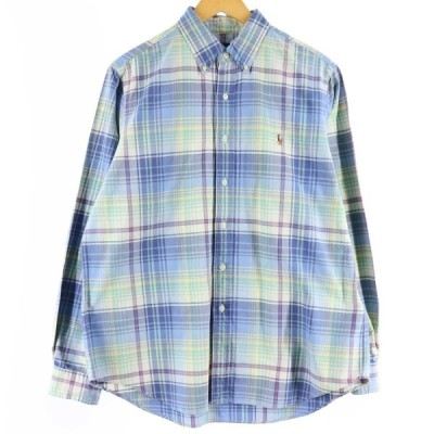 ラルフローレン Ralph Lauren 長袖 オックスフォード ボタンダウンチェックシャツ メンズL /eaa123475