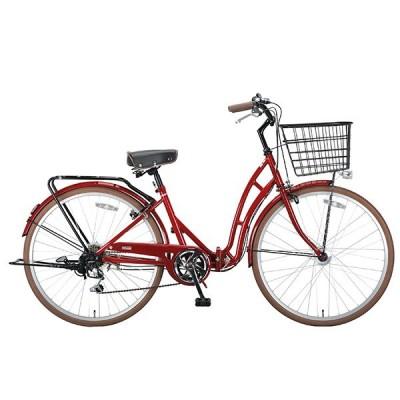 CAPTAIN STAG バレイ FDB266 (エンジ) 折り畳み自転車(26インチ・6段変速) メーカー直送