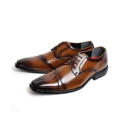 エスメイク ビジネスシューズ 紳士靴 メンズ アシンメトリー ロングノーズ 1505 (ブラウン, measurement_28_point