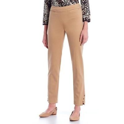マルチプルズ レディース カジュアルパンツ ボトムス Solid Pull-On Straight Leg Tulip Hem Ankle Pants