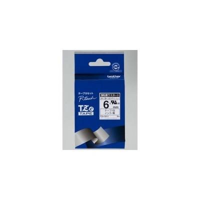 ブラザー TZe-S211  ラベルライターピータッチ用 強粘着ラミネートテープ 白テープ 黒文字 幅6mm 長さ8m
