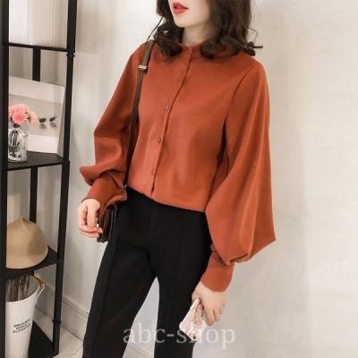 ハイネックシンプルブラウス人気オルチャンファッション流行ビッグスリーブブラウン系シャツwear.com