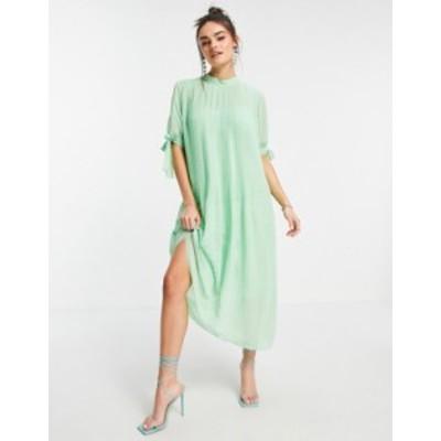 エイソス レディース ワンピース トップス ASOS DESIGN pleated trapeze midi dress with tie sleeves in pistachio green Pistachio gre