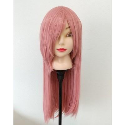 落ち着いたピンク☆スモーキーピンク☆ロングストレートのフルウィッグ