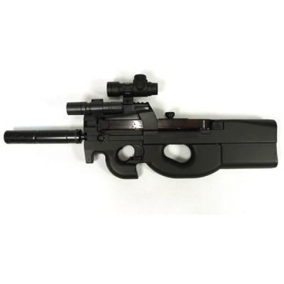 SIS D90H 電動エアガン(ベルギーFN社 P90モデル/ドットサイト&LEDライト装備)