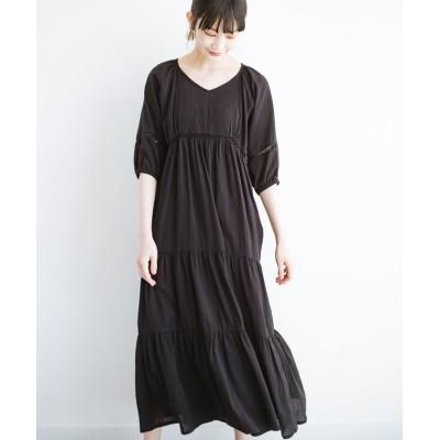 【ハコ】 軽やかで気分が上がる!ふんわり袖がかわいい楊柳ティアードワンピース レディース ブラック LL haco!