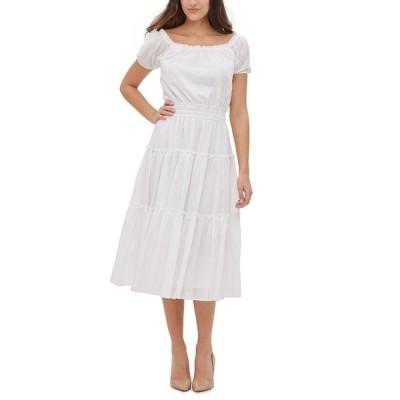 トミー ヒルフィガー ワンピース トップス レディース Cotton Tiered Midi Dress Ivory