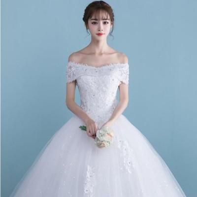 ウエディングドレス安い レース 刺繍 結婚式 花嫁 ロングドレス 二次会 パーティードレス フォーマルドレス 人気 体型カバー 白 送料無料