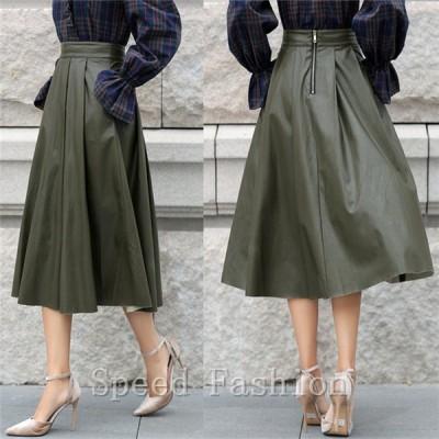 スカート ロング Aラインスカート ハイウエスト フェイクレザー  MT2422