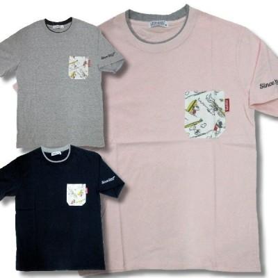 スヌーピー アメカジ メンズ 半袖 総柄ポケット付き Tシャツ ブランド 再入荷 /bia292