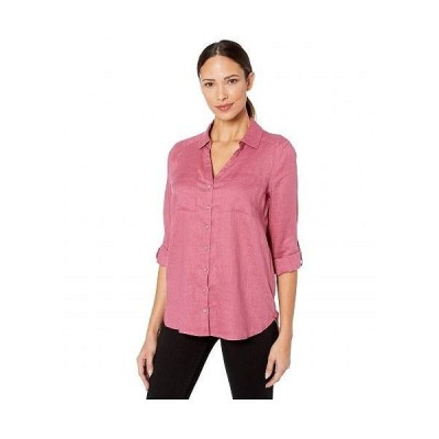 Vince Camuto ヴィンスカムート レディース 女性用 ファッション ブラウス Long Sleeve Roll Tab Two-Pocket Button-Down Linen Blouse - Dusty Rose