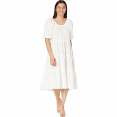 ロンドンタイムス London Times レディース ワンピース ワンピース・ドレス Double Gauze Short Sleeve Tiered Maxi White