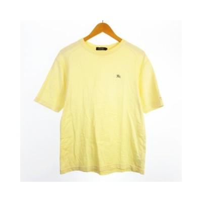 【中古】BURBERRY BLACK LABEL コットン Tシャツ カットソー 刺繍 袖ロゴ 半袖 パステルイエロー 3 【ベクトル 古着】