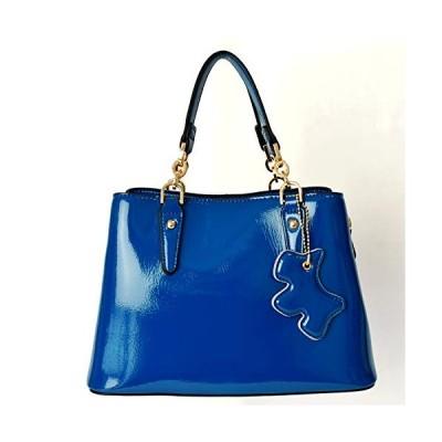 ヤモチ エナメル 牛革 バッグ 2WAY ショルダー 本革 レザー バック 鞄 かばん カバン g-1964-col-bl ブルー