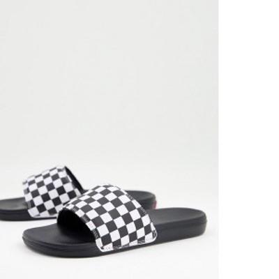 バンズ レディース サンダル シューズ Vans MN La Costa checkerboard sliders in black/white Black