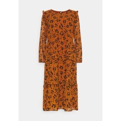 トムテイラーデニム レディース ワンピース トップス PRINTED DRESS WITH RUFFLES - Day dress - brown brown