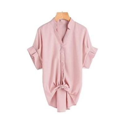 [ニブンノイチスタイル] 1/2style 半袖 プリーツ 可愛い ブルー スキッパー シャツ ブラウス プルオーバー レディース(ピンク L)