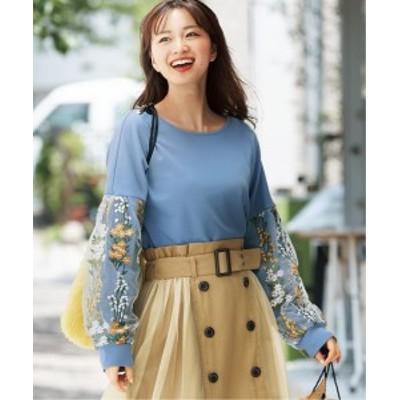 Tシャツ カットソー 大きいサイズ レディース 袖刺しゅう アイスブルー/黒 L/LL/3L ニッセン