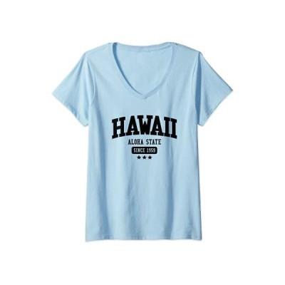 Tシャツ 女性向 レディースビンテージハワイアロハ州1959年以来アメリカヴェネックTシャツ