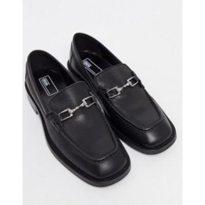 エイソス メンズ スリッポン・ローファー シューズ ASOS DESIGN loafers in black leather with square toe and snaffle detail Black