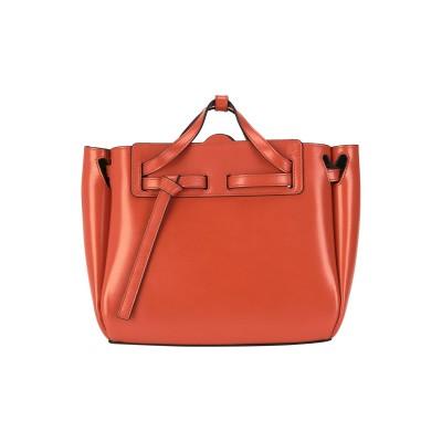 ロエベ LOEWE ハンドバッグ 赤茶色 革 / ストロー ハンドバッグ