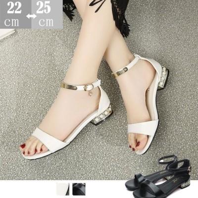 セクシーサンダル 靴 レディース チャンキーヒールサンダル夏セクシー 歩きやすい大きいサイズローヒール可愛いサンダル靴通勤パンプス/白?黒