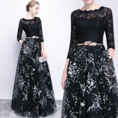 パーティードレス 結婚式 二次会 ワンピース 大きいサイズ 背中見せドレス マキシ丈 シースルー 七分袖 ウエストベルト 黒