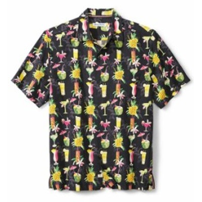トッミーバハマ レディース シャツ トップス Big & Tall Bartenders Choice Silk Dobby Short-Sleeve Woven Shirt Black