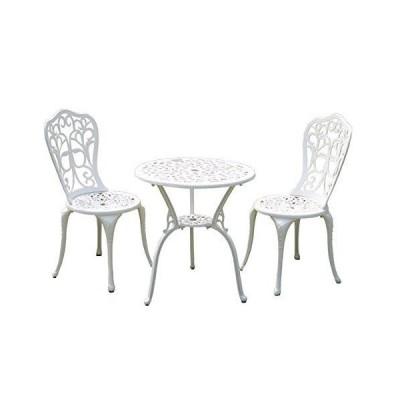 ガーデン3点セット ホワイト アルミ鋳物ガーデンテーブル3点セット ガーデンファニチャー ガーデンテーブルセット ガーデンチェア アルミ ア