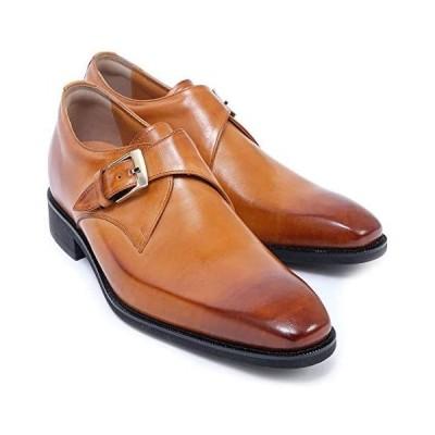 [北嶋製靴工業所] シークレットシューズ 6cm メンズ ビジネス モンクストラップ 牛革 国産 スリッポン (キャメル 25.0 cm)