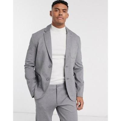 オンリーアンドサンズ メンズ ジャケット・ブルゾン アウター Only & Sons relaxed jersey suit jacket in gray