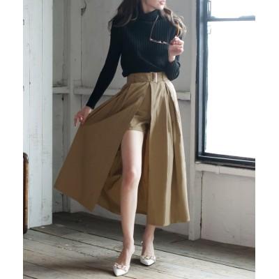 【ジュリアブティック】 ウエストベルト&ショートパンツ付きスリットロングスカート/20505 レディース ベージュ L JULIA BOUTIQUE