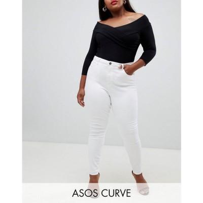 エイソス ASOS Curve レディース ジーンズ・デニム スキニー ボトムス・パンツ Curve high rise ridley 'skinny' jeans in optic white ホワイト