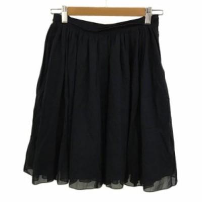 【中古】マカフィー MACPHEE トゥモローランド スカート フレア ひざ丈 ギャザー 34 紺 ネイビー レディース