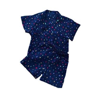 Burning Go 浴衣 甚平 春夏 男の子 女の子 子供 パジャマ 半袖 綿 ベビー ロンパース 寝間着 和風 上下 2点セット 花