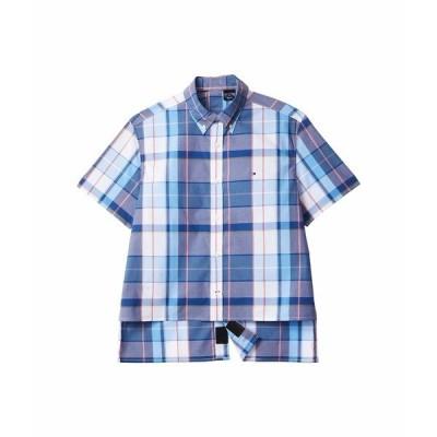 トミーヒルフィガー シャツ トップス メンズ Seated Fit Aryes Magnetic Short Sleeve Button Shirt Custom Fit Little Boy Blue