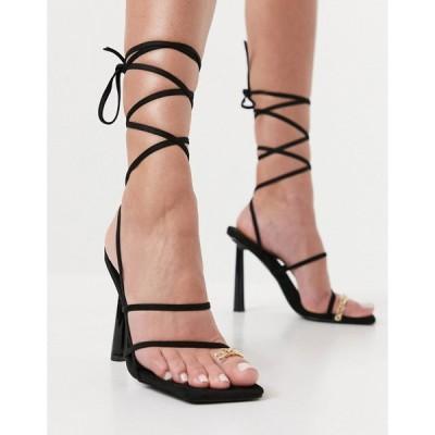 シミ SIMMI Shoes レディース サンダル・ミュール シューズ・靴 Simmi London Baylee Heeled Sandals With Toe Ring Detail In Black ブラックスエード