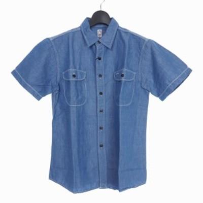 【中古】未使用品 カトー KATO` トリプル ステッチ ワークシャツ 半袖 M サックスブルー 青 BS720021 メンズ