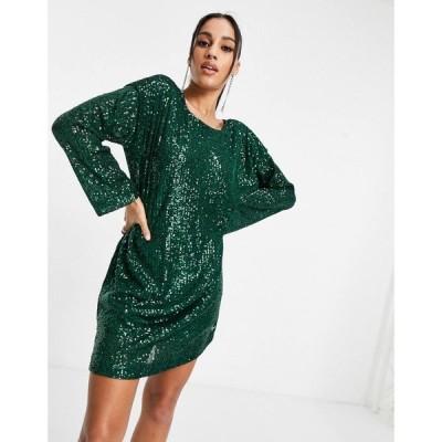 エイソス ASOS DESIGN レディース ワンピース ミニ丈 padded shoulder long sleeve v back sequin mini dress in forest green フォレストグリーン