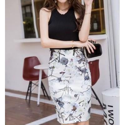 二着送料無料!S-3XL スカート フレア タイトスカート フォーマル 大きいサイズ ミディアム丈 ミモレ丈 花柄 タイトスカート マーメ