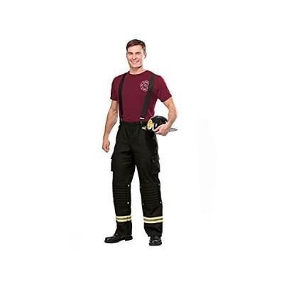 Firefighter Adult Costume Men's Fire Captain Costume Medium Black