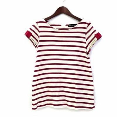 【中古】green label relaxing Tシャツ カットソー アイボリー 半袖 ボーダー フェイクパール リボン 35176991362