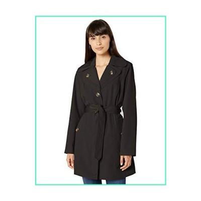 LONDON FOG Women's Double Lapel Mid Length Trench Coat, Black, Large並行輸入品