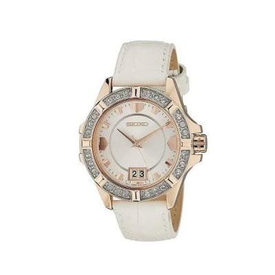 SEIKO セイコー SUR800P1 【逆輸入】ホワイトレザーベルト クリスタル アナログ 女性用 腕時計 レディースウォッチ クォーツ