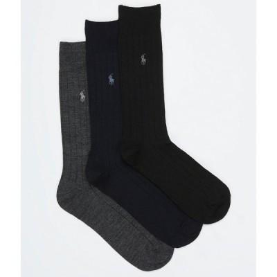 ラルフ ローレン Polo Ralph Lauren メンズ ソックス 3点セット インナー・下着 Merino Wool Ribbed Dress Socks 3-Pack Charcoal Assorted