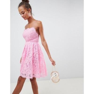 エイソス レディース ワンピース トップス ASOS DESIGN square neck mini lace prom dress Pink