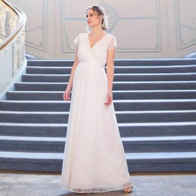 マタニティドレス マタニティフォト 妊婦 写真撮影 ホワイト レース ロング 妊婦ドレス 4サイズ