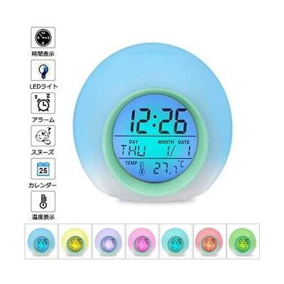 Lypumso 目覚まし時計 アラーム デジタル LED7色バックライト スヌーズ機能付き 大音量 カレンダー付 気温表示 日本語説明書 設