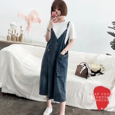 大きいサイズ ワンピース レディース ファッション ぽっちゃり おおきいサイズ  デニム サロペット スカート ラップ風デザイン LL 3L 4L 5L 6L 春夏
