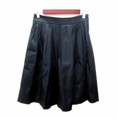 【中古】ユナイテッドアローズ UNITED ARROWS フレアスカート ギャザー ミモレ ロング 38 黒 ブラック /YI レディース